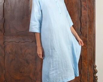 Linen Long Night Shirt For Women/ Linen  Sleepwear/ Oversize Shirt Linen/ Eco Friendly Gown/ Linen Night Dress