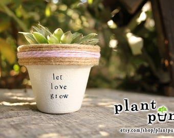 """2.25"""" Let Love Grow » Succulent gift succulent cute plant puns succulent planter wholesale plantpuns flower pot cute succulent pot gift"""