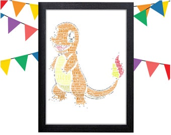 Personalized Gift Charmander Gift Pokemon Gift Pokemon Wall Art Charmander Wall Prints Wall Art Wall Decor Personalised Gift Wall Art Prints