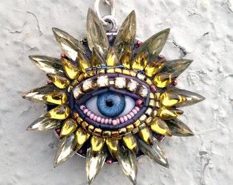 Eye Flower Antique Blue Glass Eye Necklace