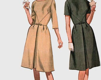 Vintage 1960s Mod Dress w/ Front Inverted Pleat Sewing Pattern Advance 3334 Sew Easy 60s Sewing Pattern Size 12 Bust 32