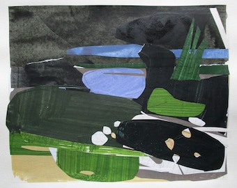 River Stop, Original Abstract Collage Painting on Paper, 11 x 15 Inches, Stooshinoff