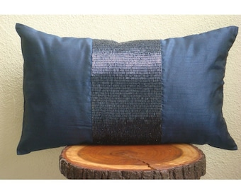Decorative Oblong / Lumbar Rectangle Pillow Covers Accent Pillow Couch Bed Toss 12x16 Navy Silk Pillows Pipe Embroidered - Striking Navy