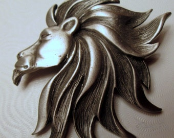 Vintage JJ Lion Pin.  King of the Jungle.  Lion King. Jonette Jewelry Artifacts 1986. Unique Gift Collectible Under 30