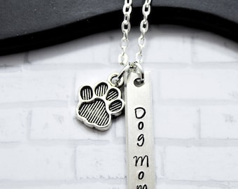 Dog Mom Necklace - Mother's Day Gift for Dog Lover - Dog Mom Jewelry - Silver Dog Mom Necklace - Mom's Day Pet Lover - Dog Paw Necklace