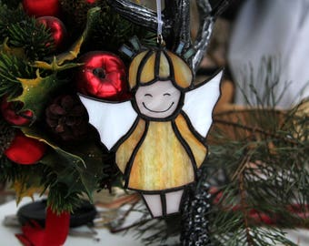 Angel Stained Glass, angel suncatcher, Christmas tree toy, stained glass Christmas angel, stained glass baby angel. Christmas home decor