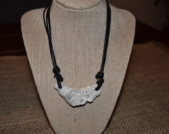 Clam Shell and Leather Adjustable Necklace