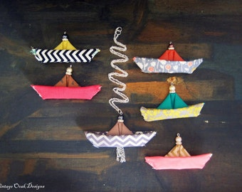 Nautical Statement Necklace,Nautical Textile Necklace,Fabric Necklace,Nautical Jewelry,Textile Jewelry,Fabric Jewelry,UniqueHandmadeNecklace