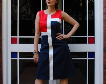 Red, White, Navy Short Dress. Cotton Summer Frock. Women's Outfit for the Races, Office, Party. Geometric Colour Block. Sizes 4 to 12.