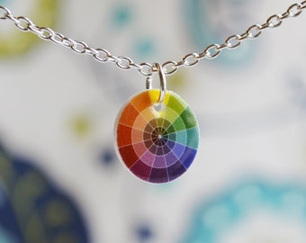 Color wheel necklace, cute artist jewelry