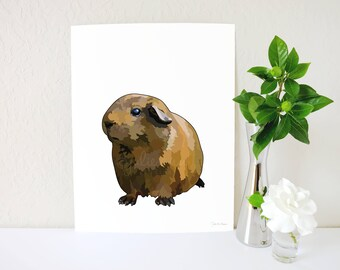 Guinea Pig Art Print, Guinea Pig Accessories, Cavy Wall Art, Guinea Pig Memorial, Guinea Pig Gift, Animal Lover Gift, Pet Parent Art, Cavy