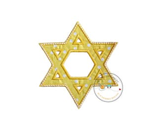 Bright Yellow Star of David Holiday machine embroidered fabric iron on no sew patch, holiday patch for kids clothing