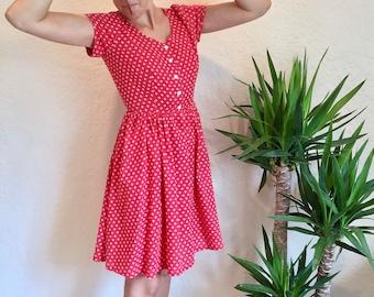 Vintage Summer Midi SunDress Fun Flirty 1980s Polka-Dot Floral Pattern Cotton