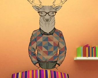 Deer Wall Decal - Deer Buck Wall Sticker - Retro Fashion Deer Wall Decor Art - Deer Boho Hippie Style Decoration - Deer Hipster Decor mc166