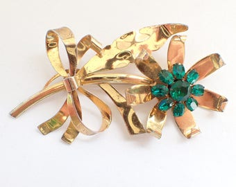 Vintage Flower Brooch Sterling gold vermeil green rhinestones AB275