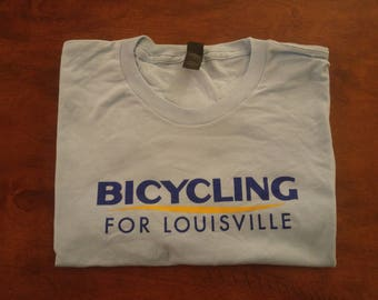 Bicycling for Louisville Retro T-Shirt (Baby Blue)