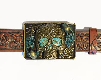 Turquoise Grave yard Buckle and Belt Strap