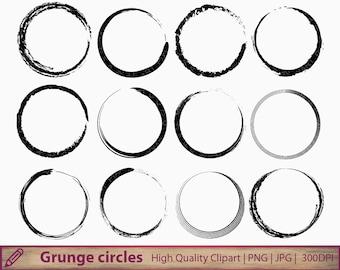 Circle clipart, grunge circle frame clip art, circular background, scrapbooking, digital instant download, jpg png 300dpi