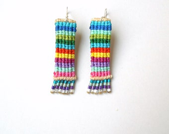 Rainbow earrings, Mermaid earrings, Macrame earrings, Rectangular earrings, Striped earrings, Beadwoven Earrings Girlfriend gift Hippie chic