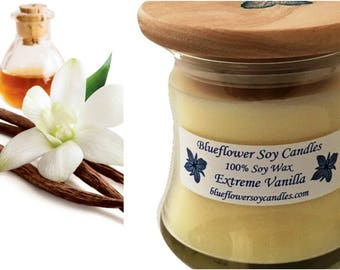 Soy Scented Candle Vanilla Hand-Poured 12 oz Jar With Wood Lid