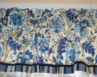 Azure Imperial Dress Waverly Blue CreamToile Valance 17X 54 Drapery Weight Alter Curtain Window Treatment
