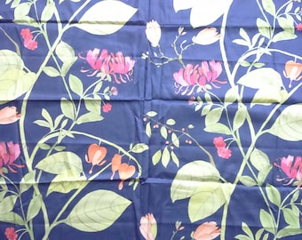 Fabric blue green orange red abstract flowers Floral Cotton Fabric Modern Botanical Fabric Scandinavian Design Scandinavian Textile
