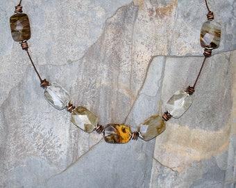 Mixed Quartz Necklace, Natural Stone Necklace, Multicolor Necklace, Brown Necklace, Neutral Necklace, Clear Quartz Necklace, Beaded Necklace