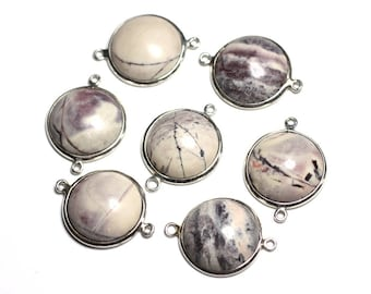 Porcelain round 20mm - 4558550082411 Jasper - connector 925 sterling silver and stone - 1pc