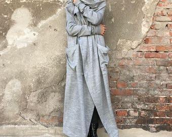 Plus Size Cardigan, Wrap Cardigan, Women Long Coat, Minimalist Fashion, Maxi Cardigan, Gray Cardigan, Hooded Cardigan, Cotton Cardigan