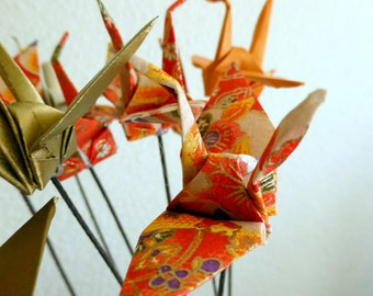 Japanese Origami Paper Cranes on stems - set of 10