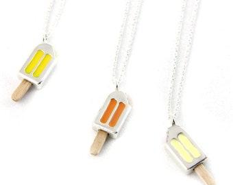 Silver choker necklace,  Orange, Lemon and Vanilla, Ice Cream, Sterling silver cocker, Silver pendant, Silver Ice Cream
