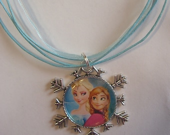 Frozen Necklace with Elsa and Anna Snowflake Pendant