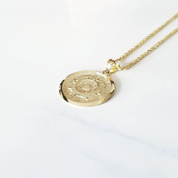 14k solid yellow gold aztec calendar pendant sun medal 14k solid yellow gold aztec calendar pendant sun medal necklace charm aloadofball Image collections