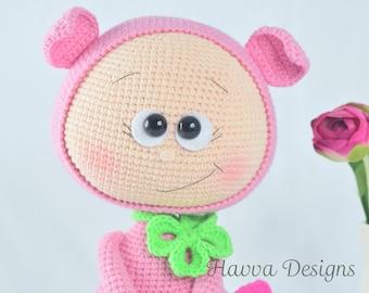 Crochet Pattern - Bonnie With Pig Costume (Amigurumi Doll Pattern)