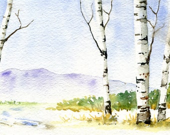 Pasture in the Snow Painting Original Watercolor