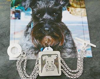 Sterling Bracelet, Your Pet Dog Portrait Pendant Bracelet, Head Shot Solid Back