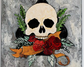 Skull and roses painting