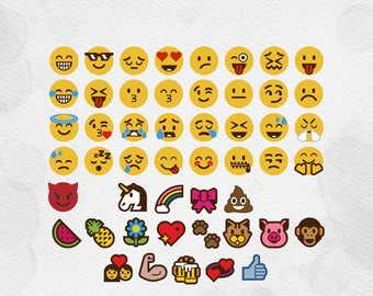 50 Emoji Icons svg, emoji svg cut file, svg, dxf, cricut Whatsapp emoji Unicorn Emoji SVG Devil Poop Bow emoji silhouette cut file svg files