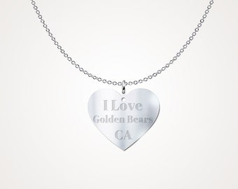 I Love California Golden Bears Sterling Silver Necklace Pendant College Jewelry