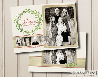 Merry Christmas Wreath--Christmas Card Template for Adobe Photoshop, Photographer Template, Instant Download, DIY, Commercial Use