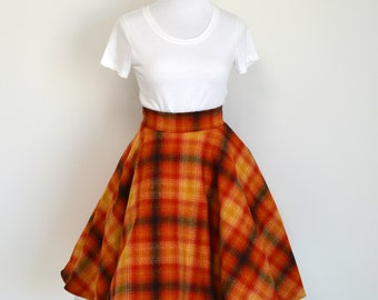 Gryffindor Inspired Red, Gold, and Navy Plaid Flannel Circle Swing Skirt