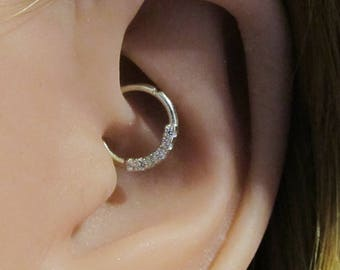 14k Solid White Gold Daith,Helix Mini Stones Bendable Ring..18g..8mm