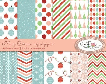 50%OFF Merry Christmas digital papers, Christmas scrapbook papers, Christmas patterned papers, instant download, dp 198