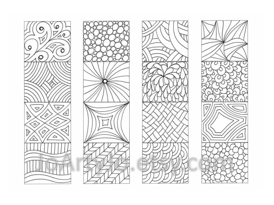 Coloring Bookmarks Zendoodle/ Zentangle Inspired Printable