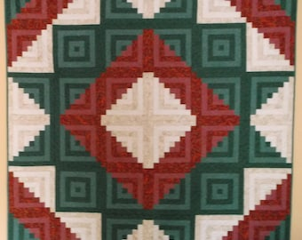 "Handmade Log Cabin Star Quilt, Pieced Log Cabin Quilt, 612 Pieces for Log Cabins, 66"" X 66"", Gift Idea for Christmas, Mothers Day"