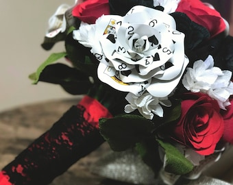 Ultimate Casino Themed Paper Flower Bouquet, Playing Card Flowers, Vegas Wedding, Crepe Paper Flower Bridal Bouquet, Handmade Paper Flowers