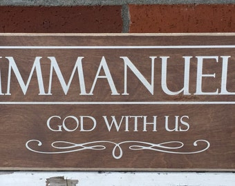 """Rustic Wood Sign - Immanuel God With Us - 8""""x16"""""""