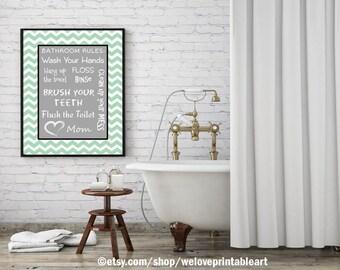 Kids Bathroom Art Decor Bathroom Artwork Printable Art Print Instant Download Bathroom Wall Quote Sign Mint Green Chevron