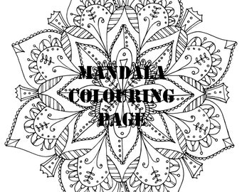 Floral Mandala Digital Printable Colouring Page