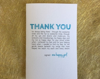 Valentine card, birthday card, Mother's Day card, Father's Day card, Love, teal green, father card, mother card, daughter, sister mom mum